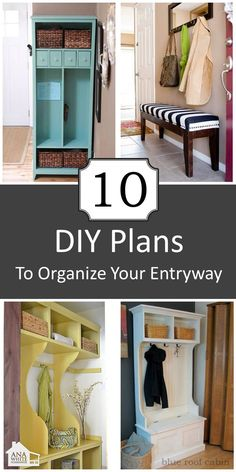 10 DIY Plans for Entryways - detailed instructions  What if the torquoise one was an old bureau turned on it's side, redone to be a tall upright cabinet like you see?