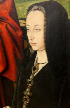 Detail of Anne of France, Lady of Beaujeu and Duchess of Bourbon, and her daughter Suzanne presented by John the Evangelist by Jean Hey, around 1492-1493. Musee du Louvre.