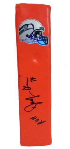 """Jacob Green Autographed Seattle Seahawks Football End Zone Touchdown Pylon w/. This is a brand-new custom Jacob Green signed Seattle Seahawks football end zone pylon inscribed """"R.O.H."""" to commemorate his induction into the Seattle Seahawks Ring of Honor. This pylon measures 3 inches (Width) X 3 inches (Length) X 13.5 inches (Height). Jacob signed the pylonin black sharpie.Check out the photo of Jacob signing for us. ** Proof photo is included for free with purchase. Please click on…"""
