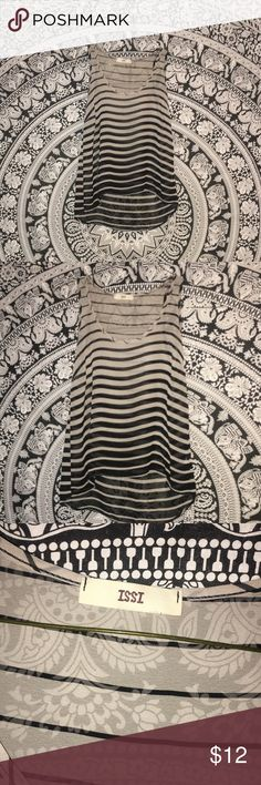 Monochromatic black and white striped tank! Super cute! Sheer! Great for spring and summer! issi Tops
