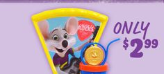 Chuck E Cheese Collector Cup & Plate PLUS Double the Fun. Double the Tickets!