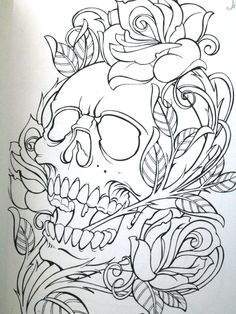 Schädel n Rosen - Tattoo Ideas Tattoo P, Tattoo Drawings, Art Drawings, Tattoo Outline Drawing, Yakuza Tattoo, Skull Rose Tattoos, Body Art Tattoos, Skull Coloring Pages, Totenkopf Tattoos