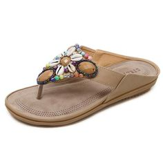 Bohemian Beaded Slope with Large Size Comfortable Shoes Woman Sandals Heel – #slippersoutfit #slipperscute #slipperscozyhouse #slippersoutfitlazydays #slippersoutfitcasual #slippersoutfitschool #slippersoutfitsummer #slipperscozy Bohemian Sandals, Beach Sandals, Flat Sandals, Bohemian Beach, Leather Sandals, Women's Shoes, Gucci Shoes, Buy Shoes, Slippers