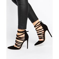 ASOS PROMOTE Pointed High Heels (963.615 IDR) ❤ liked on Polyvore featuring shoes, pumps, heels, black, black heels, black stilettos, stiletto pumps, pointed-toe pumps, black heel pumps y black pointed pumps