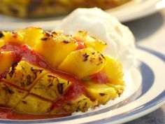 Go with Mango. Grilled mango might be a bit messier to eat than most fruits, but the result—topped with ice cream and a fresh strawberry . Bbq Desserts, Summer Desserts, Summer Recipes, New Recipes, Favorite Recipes, Healthy Recipes, Mango Desserts, Recipies, Barbecue Recipes