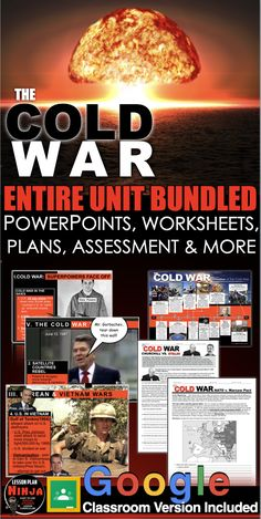 Cold War Unit Bundled is comprehensive look at the Cold War, conflicts covering from the end of World War II and spanning over 40 years to the fall of the Soviet Union. Unit includes Cold War PowerPoints w/Video Clips, Presenter Notes, warm up PowerPoints, informational text docs with questions, primary source lessons, exit tickets, crossword review, Kahoot! review game, video/video guide, & assessment. #DistanceLearning #GoogleClassroom #WorldHistoryLessonPlans #LessonPlans #HistoryLessonPlans History Lesson Plans, Social Studies Lesson Plans, Daily Lesson Plan, World History Lessons, Teaching Social Studies, History Class, Us History, Teaching History, American History