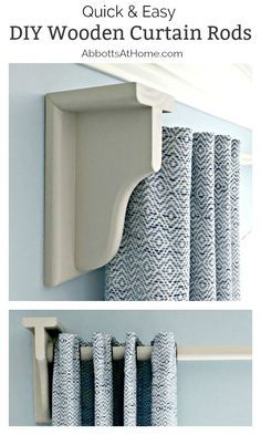 DIY Wooden Curtain Rod and Brackets – Abbotts At Home – Diy Furniture Ideas Rustic Curtains, Hanging Curtains, Diy Curtains, Kitchen Curtains, Sewing Curtains, Roman Curtains, Beige Curtains, Patterned Curtains, Luxury Curtains