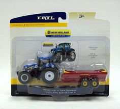 Ertl Collectibles 1:64 New Holland T7000 Tractor with Spreader by Ertl Collectibles. Save 4 Off!. $18.32. Soft plastic tires. Clear windows to reveal the detailed interior. Die cast body on the spreader. 1/64 implements will attach to the tractor. Tractor body die cast construction. From the Manufacturer                1/64 NH T7070 with V tank spreader to clean out the cow yards. Tractor body die cast construction Clear windows to reveal the detailed interior.                        ...
