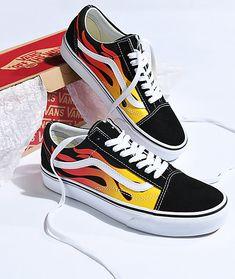 33eb7b1f2f Vans Old Skool Flame Black   White Skate Shoes