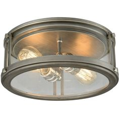 Elk Lighting Coby Flush-Mount Light In Zinc - Illuminate your space with the Elk Lighting Coby 2 Light Flush-Mount Light. This modern light features clear glass panels on all sides which allows the cast sockets and the turned hardware to be fully visible. Elk Lighting, Flush Mount Lighting, Flush Mount Ceiling, Modern Lighting, Lighting Store, Lighting Ideas, Ceiling Light Design, Ceiling Lights, Farmhouse Lighting