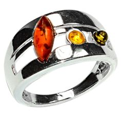 4.6g Authentic Baltic Amber 925 Sterling Silver Ring Jewelry s.8 A7337S8 | eBay