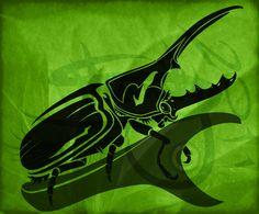 Rhino Beetle Tribal Tattoo Design by Amoebafire