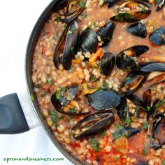 Spelt Tomato Soup with Pancetta & Mussels