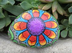 Painted Beach Rock Flower Abstract Rainbow by PurpleKatJewelry, $50.00
