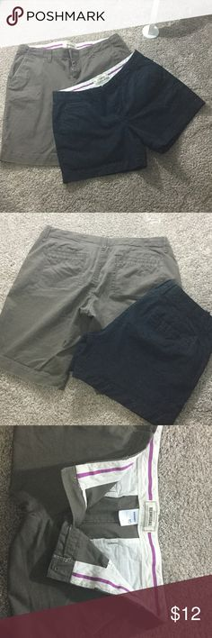 """Old Navy size 10 shorts bundle!!!!!!!!!!!!! Old Navy 5 inch black. """"Perfect"""" short khakis.  & Brown old Navy 10 inch Bermudas.  Both are the super soft old Navy khaki's not the thin khaki material line.  Flat front like new!!!  Check out my top bundle would go perfect with for a summer wardrobe sweep! Old Navy Shorts"""