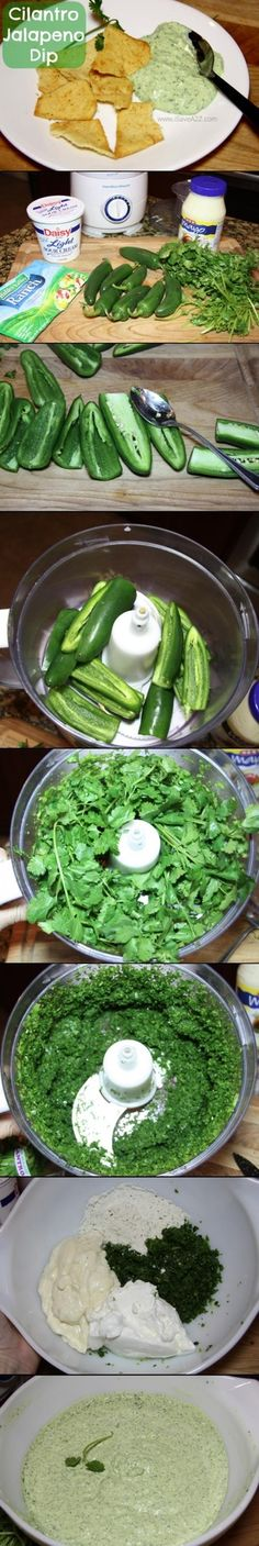 This dip is a must have for parties!! WARNING: This dip is ADDICTING!!!I put it on almost everything! Cilantro Jalapeno Dip