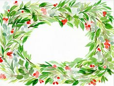 Holiday Wreath Watercolor Painting -  Create a watercolor wreath or garland following our easy tutorial. Use your painting as the background of your holiday greeting cards or frame to add some holiday vibes to your home!