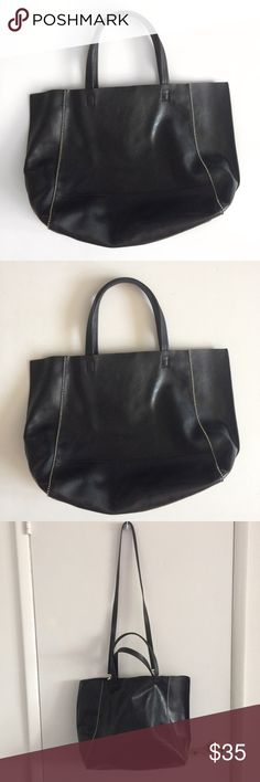 """Express Faux Leather Black Tote 