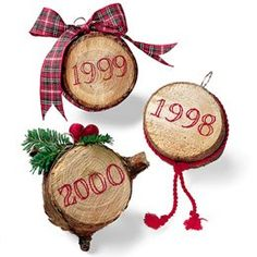 Tree Trunk Ornament. Cut a piece of the tree each year and decorate for an annual craft project and ornament.