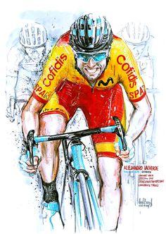 Alejandro Valverde, Spanien, wins World Championships 2018 (Innsbruck-Tirol), Urban Cycling, Cycling Art, Cycling Bikes, Cycling Jerseys, Bicycle Race, Bike Rides, Cycle Painting, Mtb Cycles, Bike Illustration