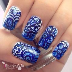 lace nail art - 45+ Lace Nail Designs