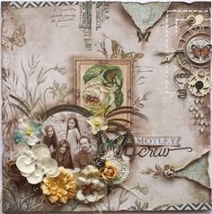 Motley Crew ~ Include family photos from today in your heritage album too! This modern family portrait layout is scrapped in a vintage style with softly colored papers and great Steampunk gear embellishments.