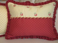 French Country Pillow Cover with Ruffles, Cherries Decorative Throw Pillow, Red & Pale Yellow, Cottage Decor, Summer Pillow 14x18 Cushion