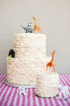 Pin for Later: Fabulous and Unique Birthday Cakes For Kids A Shabby-Chic Safari Cake A simple ruffle cake was topped with a menagerie of safari animals to tie in with a safari-themed party. Source: A Little Savvy Event Safari Party, Safari Birthday Cakes, Unique Birthday Cakes, Safari Cakes, Birthday Cake Girls, Animal Birthday, Birthday Ideas, Little Girl Birthday, Summer Birthday
