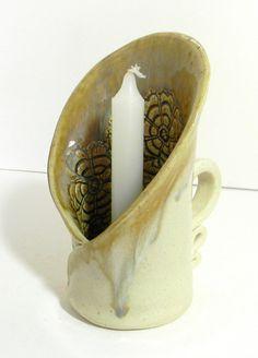 Ceramic Lace impressed candle holder