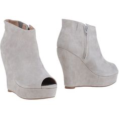Jeffrey Campbell Shoe Boots ($89) ❤ liked on Polyvore featuring shoes, boots, ankle booties, light grey, wedge boots, zipper boots, jeffrey campbell boots, wedge heel booties and leather ankle booties