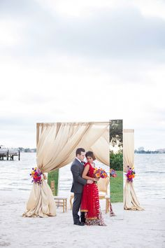 Indian Inspired, Outdoor Beach St. Petersburg Bride and Groom Wedding Portrait | St. Pete Wedding Venue Isla del Sol Yacht and Country Club | St. Petersburg Wedding Florist Iza
