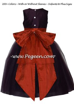 plum and rust flower girl dresses by Pegeen.com ~ Located 1 mile from Disney World, Selling online and shipping world wide. Call us for design help! 407-928-2377