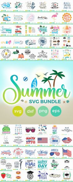 Summer SVG Bundle (Silhouette Cameo Cricut Explore, Cricut Maker Tutorials SVG Free Files and more)