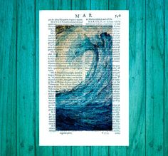 Instant download copy painting of mine dictionary page print home big wave blue sea