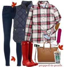 Starbucks and Hunters? I guess it's Fall! by prepped-in-pearls on Polyvore featuring polyvore, fashion, style, H&M, J.Crew, J Brand, Hunter, Tory Burch and Longchamp