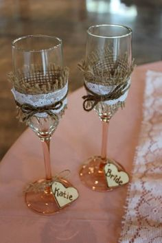 Toasting glasses with little wooden hearts from the bride & the maid of honor. Burlap & lace www.myblossomingbud.blogspot.com