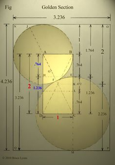 - very nice stuff - share it Clean numbers Golden Section construction pure 2 circles clean color contrast 005 Mathematics Geometry, Geometry Art, Sacred Geometry, Geometry Tattoo, Fibonacci Golden Ratio, Fibonacci Spiral, Golden Number, Divine Proportion, Math Formulas
