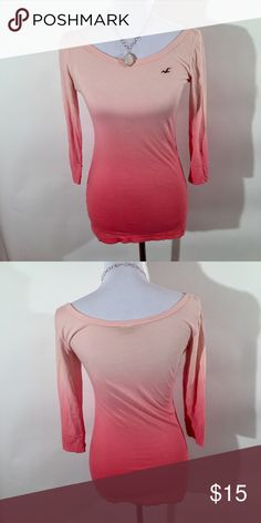 "HOLLISTER OMBRÉ PINK LONG SLEEVE ❤️Length: 22"" ❤️Width (armpit to armpit): 17"" ❤️Excellent condition ❤️Same day shipping  ❤️15% off for 2 items or more bundle ❤️MAKE ME AN OFFER Hollister Tops Tees - Long Sleeve"