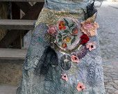 Baroque fantasy- -rustic antique  tunic, chemise, nuisette, antique and vintage lace, embroidery, beading