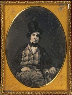 ca. 1840-60, [daguerreotype portrait of a gentleman wearing top hat and patch over left eye]