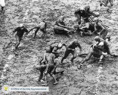 """The Army-Navy Game at Franklin Field, December 1, 1934   """"Football in the mud is a much more fluid and rhythmic game to watch than on a dry field because …the 22 men do not come to a stop as abruptly as they do where the turf is solid and sure. The pileups dissolve in the grease and the ball carriers move to come sort of completion, either forward or backward, depending on how hard they are hit until they skid gently to a stop."""""""