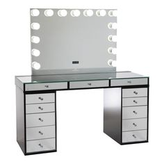 SlayStation® Pro Mirrored Tabletop + Vanity Mirror + 5 Drawer Units Bundle (Pre-order Now. Expected ship date: June - Impressions Vanity Co. Tabletop Vanity Mirror, Mirrored Vanity Table, Mirror Drawers, Vanity Tables, Vanity Mirrors, Vanity Makeup Rooms, Vanity Room, Vanity Desk, Makeup Vanities