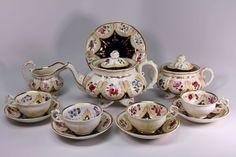 Hand Painted English Early 19th Century Cobalt Floral Tea Pot Cup Saucer Set #English Antique Tea Sets, Chocolate Pots, Coffee Set, Cup And Saucer Set, Vintage China, Cobalt, Art Decor, Tea Pots, 19th Century
