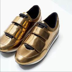 Zara Gold Velcro Sneakers