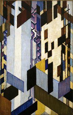 František Kupka ~ Perpendicular and Transverse Surfaces, 1913-23 (oil)