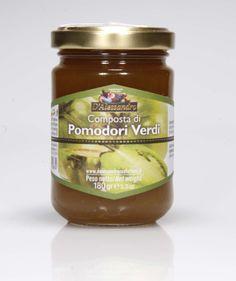 Composta di pomodori verdi    Composta di pomodori verdi 180 g.   Ingredienti: pomodori verdi, zucchero,   gelificante: pectina, estratto di vaniglia.   FASCIA F