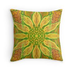 """""""Sun Flower, bohemian floral pattern, yellow, green & orange"""" Throw Pillows by clipsocallipso 