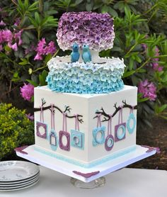 My blue and purple wedding cake that was featured in Cake Central Magazine. I had the best time making this cake. Gorgeous Cakes, Pretty Cakes, Cute Cakes, Amazing Cakes, Cake Central, Creative Wedding Cakes, Spring Cake, Cake Wrecks, Cake Art