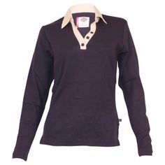 Dickies Missy Long Sleeve Johnny Collar Top (Small, Navy)