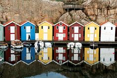 Bright fishing huts in Smögen (located between Lysekil and Grebbestad), one of wester Sweden's most popular tourist destinations (Photograph...